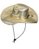 Stylish golden party hat. Shot over white background Royalty Free Stock Photos