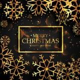 Stylish golden snowflakes on black background for christmas fest Stock Photos
