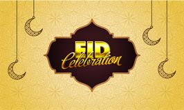 Stylish golden text Eid Mubarak with hanging moons on doodle des. Ign decorated beige background Royalty Free Stock Images