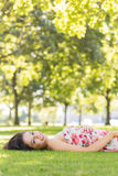 Stylish gorgeous brunette lying on a lawn Stock Photos