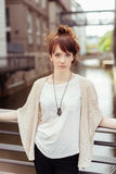 Stylish Gorgeous Lady Leaning Against the Railings Royalty Free Stock Photography