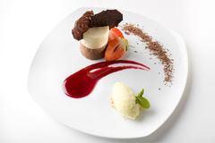 Stylish gourmet dessert. Of double flavored mousse Royalty Free Stock Images