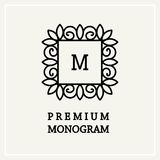 Stylish and graceful floral monogram design Royalty Free Stock Photos