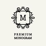 Stylish and graceful floral monogram design , Elegant line art logo , vector template. Stylish and graceful floral monogram design , Elegant line art logo Stock Images