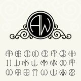 Stylish and graceful floral monogram design Stock Image