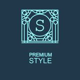 Stylish  graceful monogram  in Art Nouveau style Stock Image