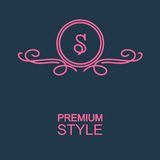 Stylish  graceful monogram  in Art Nouveau style Royalty Free Stock Photography