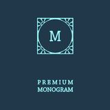 Stylish  graceful monogram  in Art Nouveau style Stock Photos