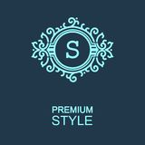Stylish  graceful monogram  in Art Nouveau style Royalty Free Stock Photos
