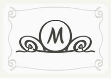 Stylish graceful monogram , Elegant line art logo design in Art Nouveau style Royalty Free Stock Photo