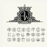 Stylish  graceful monogram  in Victorian Style Stock Images