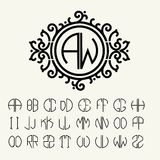 Stylish graceful monogram in Victorian Style stock illustration