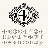 Stylish  graceful monogram  in Victorian Style Stock Photos