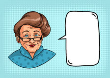Stylish grandmother with retro hairstyle, glasses, red lipstick. Portrait of elderly woman and speech bubble for text. Colorful comics illustration stock illustration