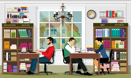 Stylish graphic library interior with furniture and people. Reading area of the library. Detailed vector set.