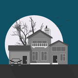 Stylish grayscale house vector illustration. Flat design image of building with moon, tree, cat silhouette and birds. Halloween Stock Photos