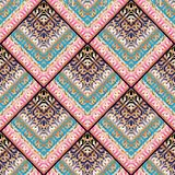 Stylish greek key meanders seamless pattern. Vector geometric ba. Ckground. Ornate wallpapers design. Tracery abstract ornaments. Gold pink 3d ornamental meander Royalty Free Stock Photography