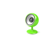 Stylish green audio speaker. On pedestal, isolated on white background Stock Image