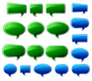 Stylish Green & Blue Speech Bubbles Stock Images