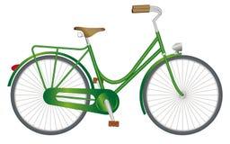 Stylish green ladies retro bike. With light, on white background stock illustration