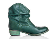 Stylish green leather boot Royalty Free Stock Photography