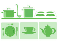 Stylish green tableware. Dessert plate with spoons and knife, cup and saucer, teapot Stock Photography