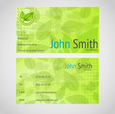 Stylish green vector business card with standart 9 Stock Photos