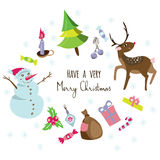 Stylish greeting card background with a christmas tree,snowman,deer,sweets,decorations. Royalty Free Stock Photos