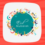 Stylish greeting card for Eid Mubarak celebration. Royalty Free Stock Photo