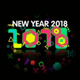 Stylish greeting card. Happy New Year 2018. Trendy geometric font in memphis style of 80s-90s. Stock Photography