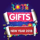 Stylish greeting card. Happy New Year 2018. Trendy geometric font in memphis style of 80s-90s. Royalty Free Stock Images