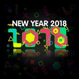 Stylish greeting card. Happy New Year 2018. Trendy geometric font in memphis style of 80s-90s. Digits and abstract elements Royalty Free Stock Images