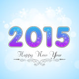 Stylish greeting card for New Year 2015 celebration with text. Happy New Year 2015 celebrations with beautiful shiny text on snowflake decorated sky blue Stock Photography