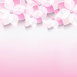 Stylish greeting card with pink 3d sakura flower Royalty Free Stock Photo