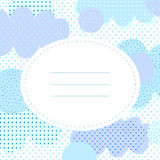 Stylish greeting card with polka dots and cloudlets. Place for your text. In collage style. Unusually and nice for baby shower and birthday. Blue and lilac Stock Photos