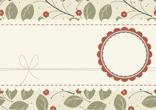 Stylish greeting card with red flowers, lace frame and circle fr Royalty Free Stock Photography