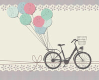 Stylish Greeting card with retro bicycle Royalty Free Stock Images
