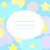 Stylish greeting card with stars, polka dots and cloudlets. Place for your text. In collage style. Unusually and nice for baby shower and birthday. Blue, yellow Stock Photography