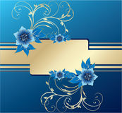 Stylish greeting cards with floral elements. Stylish greeting cards with blue flowers, vector, illustration Stock Photo