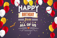 Stylish greetings happy birthday, creative card with inflatable balloons, confetti and streamers Stock Image