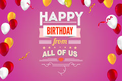 Stylish greetings happy birthday, creative card with inflatable balloons and streamers Royalty Free Stock Photo
