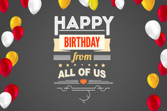 Stylish greetings happy birthday, creative card with inflatable balloons and streamers Royalty Free Stock Image