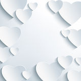 Stylish grey background with 3d paper hearts Stock Images