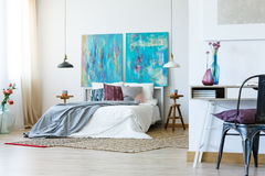 Stylish grey bedclothes Stock Photos