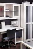 Stylish grey room with wardrobe. Computer desk and comfortable chair Royalty Free Stock Photography