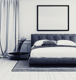 Stylish grey and white bedroom interior Royalty Free Stock Image