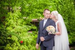 Stylish, groom and bride tender Stock Photo