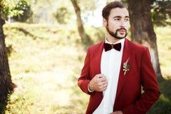 Stylish groom in tuxedo looking away suit marsala red, burgundy bow tie. Stock Photo