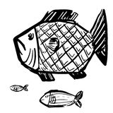 Stylish Grunge Fish Vector Illustration. Set of three grunge style fish vector illustration Royalty Free Stock Photography