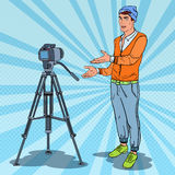 Stylish Guy Vlogger Recording Video. Pop Art illustration Stock Photo